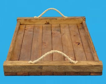 """reclaimed wood decorative tray,yellow pine strips from a demolished building,12"""" by 18"""""""