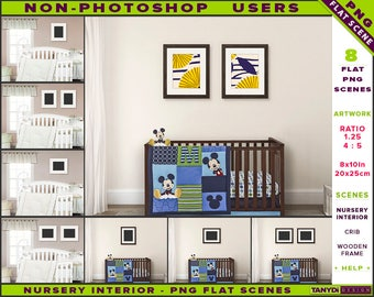 Nursery Interior Styled PNG Scenes 810-C6 | Non-Photoshop | 8x10 Set of 2 Wooden Frame on Nursery Wall | Portrait & Landscape frame | Crib