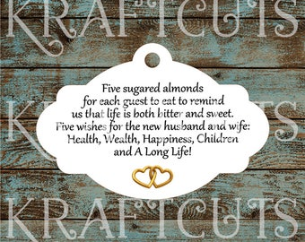 Favor Tags, Jordan Almond Favor Tags, Sugared Almond Favor Tags, Italian Wedding Favor Tags with Gold Hearts #777 - Quantity: 30 Tags