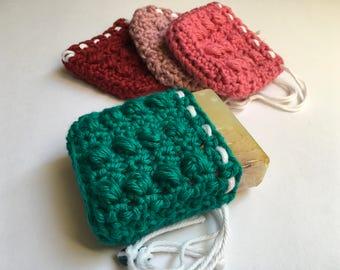 Crochet Soap Saver, Drawstring Bag, Soap Bag, Soap Holder, Soap Accessory, Bath Bag, Gift for Her, Housewarming Gift, Gift for Mom