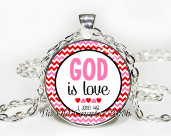 1 John 4:19 God Is Love-Glass Pendant Necklace/Bible Verse/Scripture/Christian Gift/Religious Jewelry/Faith/Baptism Gift/Bible Chapter