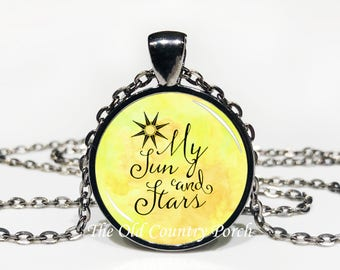 My Sun And Stars Glass Pendant Necklace with Chain