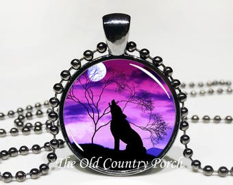 Purple Sunset Wild Wolf- Glass Pendant Necklace/Mother's day/Moon Necklace/gift for her/girlfriend gift/wolf gift/wolf necklace/birthday
