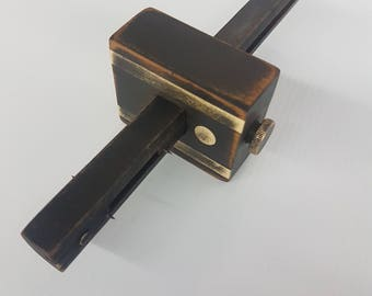 Wood and brass carpenters woodworking scribe signed