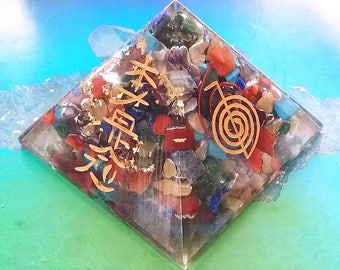 """HUGE ORGONE PYRAMID, 4 Inch or 2.5"""" Chakra Crystal Usui Reiki Gold Engraved Energy Generator, Orgonite, with Copper Coil"""