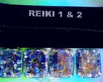 LARGE ORGONE LAPIS Lazuli Usui Symbol Engraved Reiki Chakra Balancing 4 Stone Healing Set and a Reiki Pouch