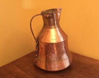 Vintage, Antique Copper Pitcher/Primitive Hammered Copper/Farmhouse Rustic Pitcher