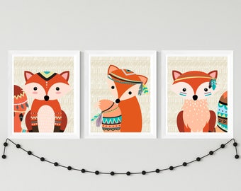 Nursery printable set tribal fox wall art set, kids room instant download fox wall decor, tribal woodland playroom wall art download