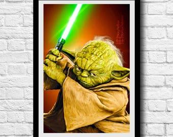 Yoda Portrait Digital Painting Print, Star Wars