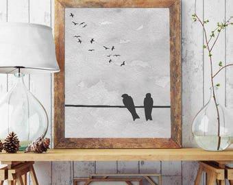 Typography Wall Art, Swallow, Wall Art Birds, Watercolor Printable, Bird Wall Art, Watercolor Wall Art, Typography Poster, Bird Wall Decor