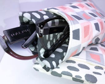 Geometric Double Glasses Case, Colorful Eyeglass Case, Double Pocket Sunglasses Pouch, Eyeglasses Organizer, Soft Eyeglass Case