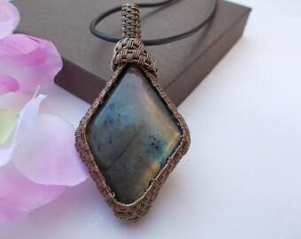 Labradorite pendant , wire wrapped pendant , wire wrapped jewelry , wire jewelry , labradorite jewelry , gemstone pendant , wire pendant