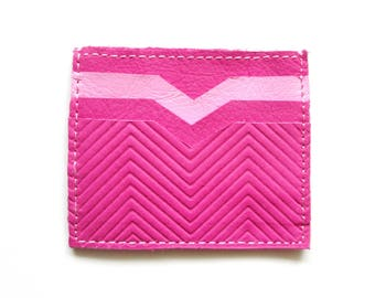 Pink Leather Wallet Credit Card Wallet Card Wallet Credit Card Case Gift Idea