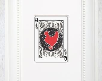 Little red hen, fable illustration, hen art, red hen art, fairytale illustration, playing card art, classic illustration, chicken art, queen