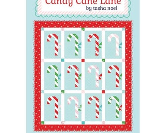 "Candy Cane Lane Quilt Kit with Pattern using Pixie Noel by Tasha Noel- Finished Quilt Size 62"" x 70"""