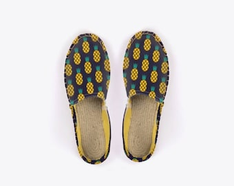 New! Disco Pineapple Unisex Espadrilles in Midnight Blue