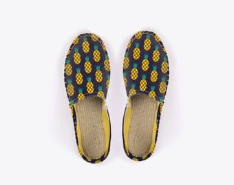 New! Disco Pineapple Unisex Espadrilles in Midnight – Suzie London handmade 70s retro espadrille summer festival sandals with yellow lining