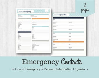 Emergency Contacts / In Case of Emergency / Personal Information Organizer / Emergency Kit / Babysitter Printable / Family Emergency