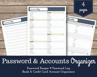 Password Tracker / Password Log / Password Organizer / Password List / Budget & Finance Planner / Account Contacts / Budget Printable