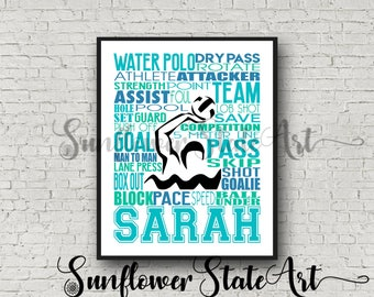 Personalized Water Polo Poster, Gift For Water Polo, Water Polo Gift Ideas, Water Polo Gift Typography, Water Polo Team Gift, Water Polo Art