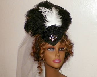 Black Gothic Lolita Headdress Victorian Hat Feather White Fascinator Steampunk Costume Headpiece Old West  Marie Antoinette