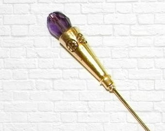 Hat Pin Purple Vintage Victorian Style Gold Crystal Edwardian Antique Inspired  6 Inch Steampunk Stick Lapel Pin With Protector