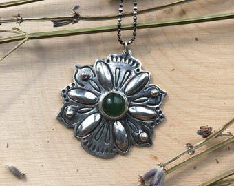 Sterling Silver Mandala Pendent with Jade