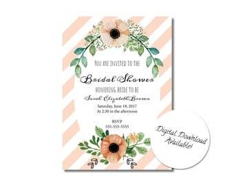 Blush Floral Bridal Shower Invitation