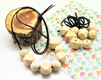Kit necklace, suede cord brown 1 m, 4 polygons 20 mm and 4 round beads 20 * 18 mm, natural