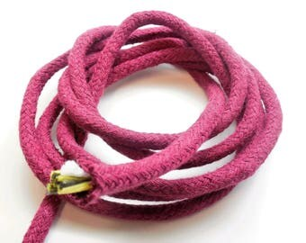 1 meter plaited rope in plum cotton, 6 mm