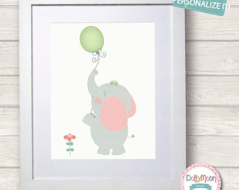 Holding a balloon, baby elephant, Childrens / Art Nursery Print,  Wall Decor,  Wall Art. Can be personalized with name.