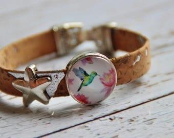 Bracelet of cork and Hummingbird Cork Bracelet