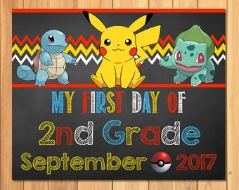Pokemon First Day of 2nd Grade Sign September Chalkboard * Pokemon Back to School Sign * Pikachu Photo Prop Sign * Pokemon Printable