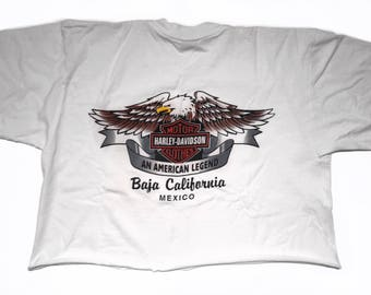 Vintage Harley Davidson An American Legend Baja California Mexico Eagle Crop Top T Shirt