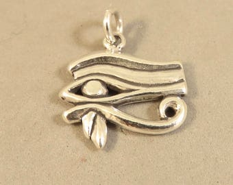 EYE OF HORUS .925 Sterling Silver Charm Pendant Ra Egyptian Egypt Sign Symbol Protection Royal Power Good Health Wadget  tr134