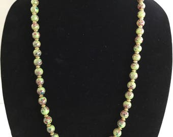 Green Speckled Necklace, Bracelet and Earrings