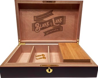 Stash Box with Lock with Removeable Stash Box with Rolling Tray Lid - Humidity Control Locking Box with Lid Premium Quality Discrete Boxes