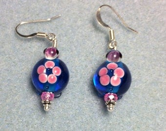 Bright blue and pink lampwork turtle bead earrings adorned with hot pink Chinese crystal beads.