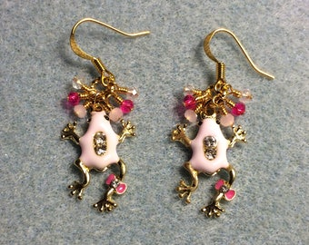 Light pink and hot pink enamel and rhinestone frog charm earrings adorned with tiny dangling light pink and hot pink Chinese crystal beads.