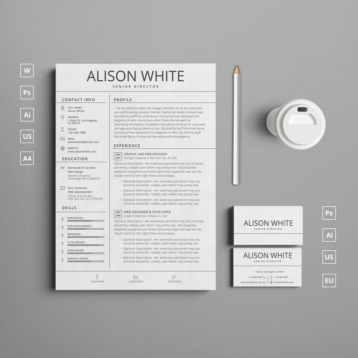Clean Borderless CV/Resume and Business Card templates + Free ...