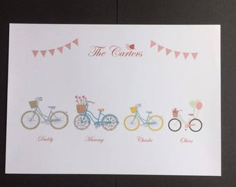 Personalised Family Print - Vintage Bikes