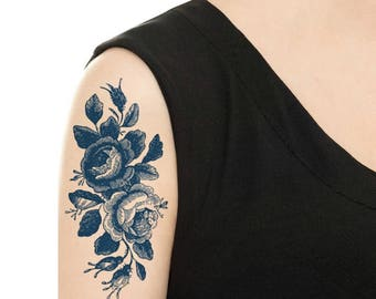 Temporary Tattoo -  Vintage Black Rose Tattoo / Vintage Blue (Delfts Blauw) Dutch Tattoo