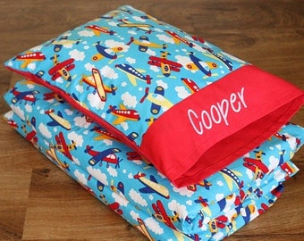 Boy Nap Mat Cover & Personalized Toddler Pillow, Airplanes, RED, Cotton ***Choose your mat cover size!