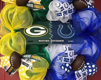 House Divided Wreath, Football wreath, Green Bay Packers Indianapolis Colts house divided wreath, NFL Wreath, Packers wreath, Colts wreath
