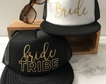 READY TO SHIP! Bride Hat & Bride Tribe Hats | Bachelorette Hats | Bridesmaid Hat | Bridal Party Hats | Bride's Tribe Trucker Hats