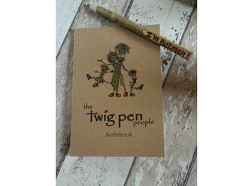 Recycled eco Notebook with Personalised Twig Pen, Gift set ,The Twig Pen People