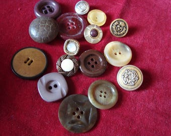 set of 15 buttons old brown tones