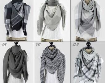 Fall scarf, blanket scarf gray, fall scarf oversized, personalized scarf, blanket scarf monogram, bridesmaid shawls, winter wedding