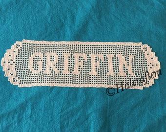 Custom Filet Crochet Last Name Doily - Engagement, Wedding or Anniversary Gift (Edge #2, Font #1)