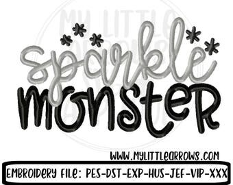 Sparkle monster embroidery design 4x4 5x7 -halloween embroidery-halloween girl shirt - girl embroidery Halloween design